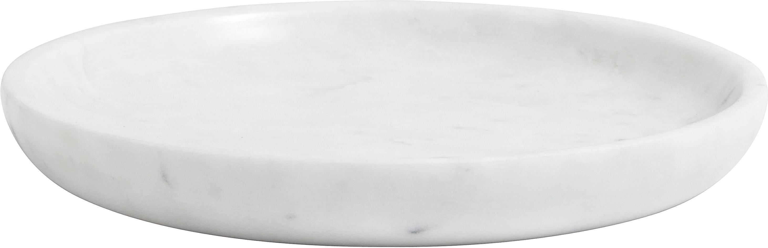 Bandeja decorativa de mármol Lorka, Mármol, Blanco, Ø 17 x Al 2 cm
