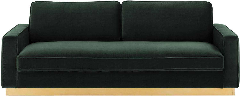 Fluwelen bank Chelsea (3-zits), Bekleding: fluweel (hoogwaardig poly, Frame: massief vurenhout, Frame: gecoat metaal, Donkergroen, B 228 x D 100 cm