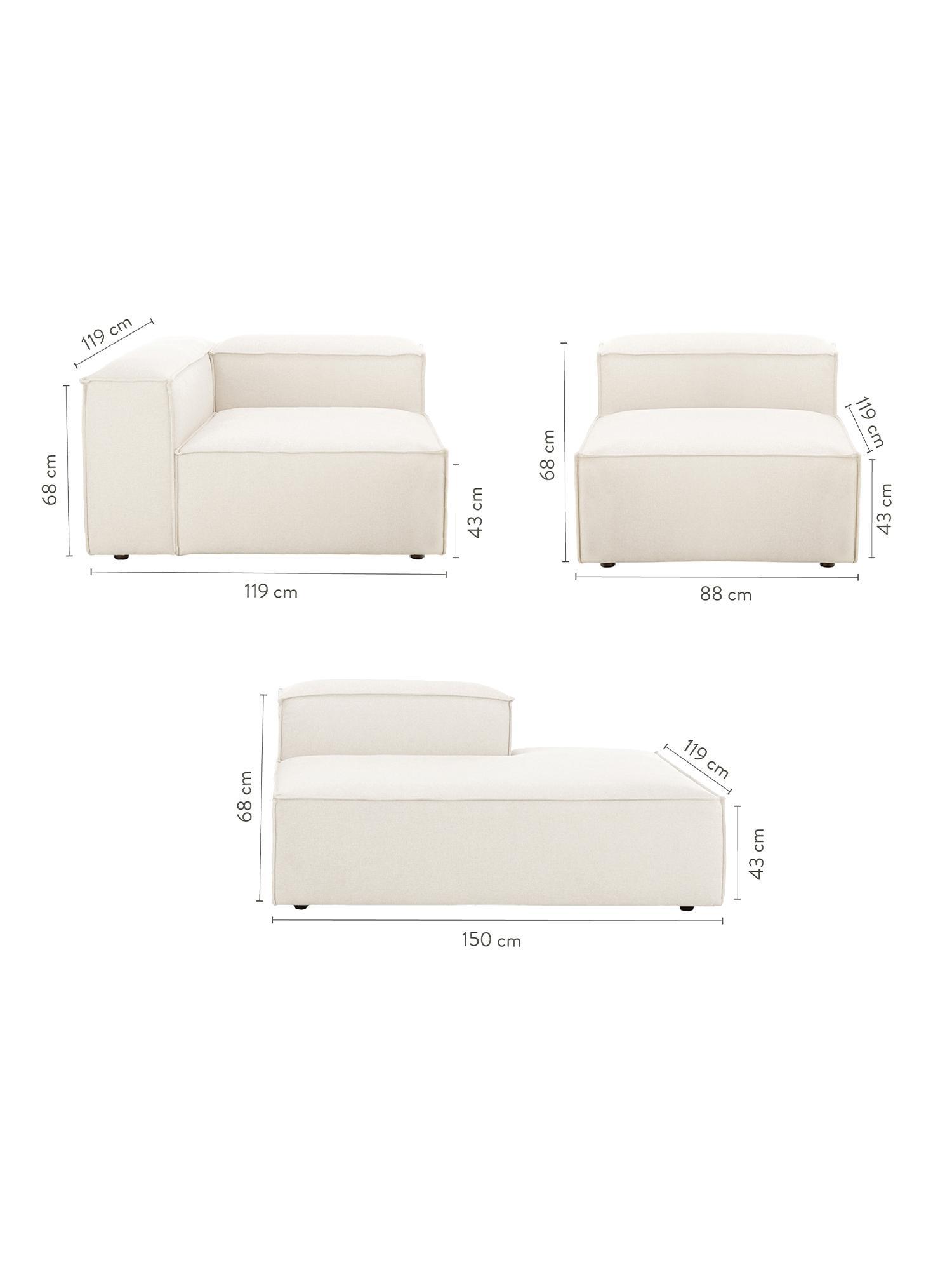 Canapé modulable XL dossier bas Lennon, Tissu beige