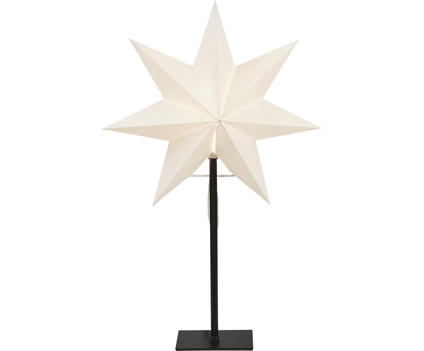 Lichtobject Frozen, met stekker, Lampenkap: papier, Lampvoet: gecoat metaal, Wit, zwart, 34 x 55 cm