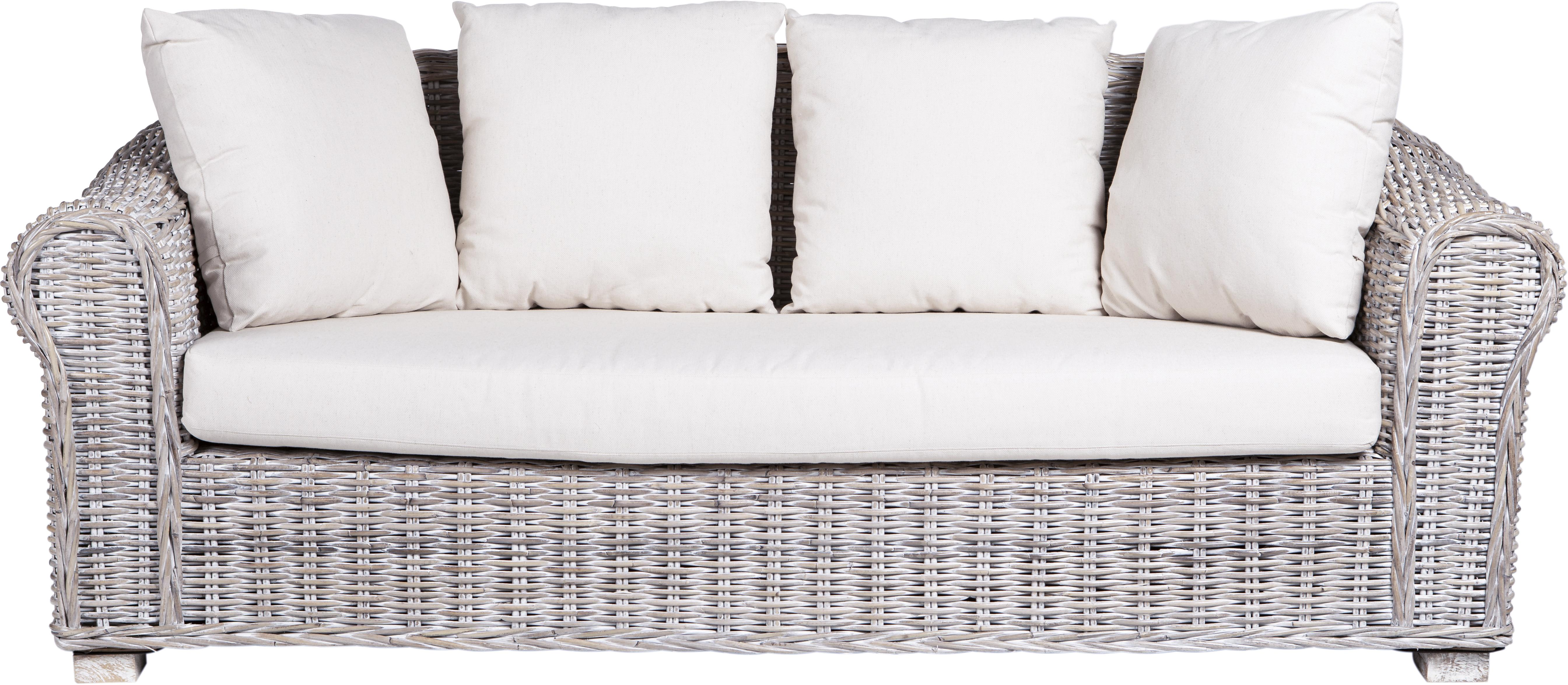 Sofá de exterior Coba (3 plazas), Estructura: ratán, trenzado de kubu, , Patas: madera de mango, Gris, blanco, An 204 x Al 96 cm