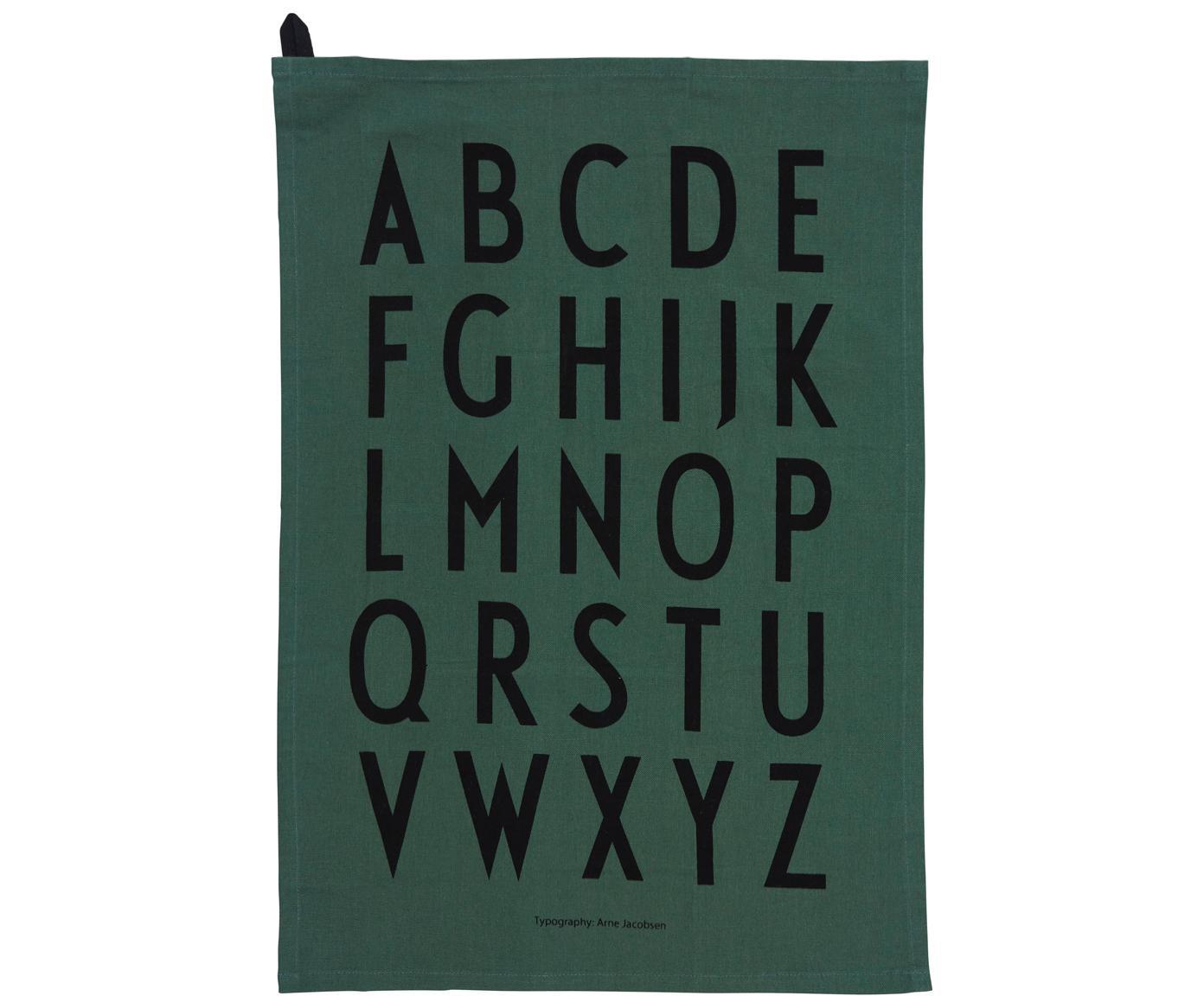 Theedoeken Classic in groen met designletters, 2 stuks, Katoen, Groen, zwart, 40 x 60 cm