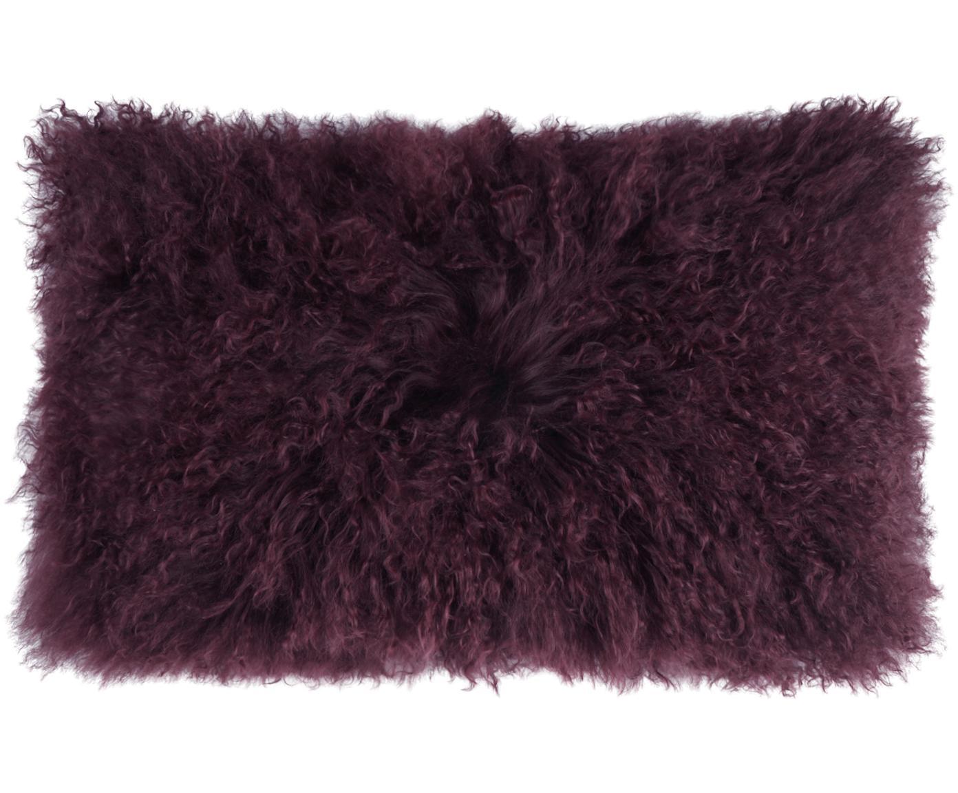 Langhaar-Lammfell Kissenhülle Ella, gelockt, Vorderseite: 100% mongolisches Lammfel, Rückseite: 100% Polyester, Dunkelrot, 30 x 50 cm