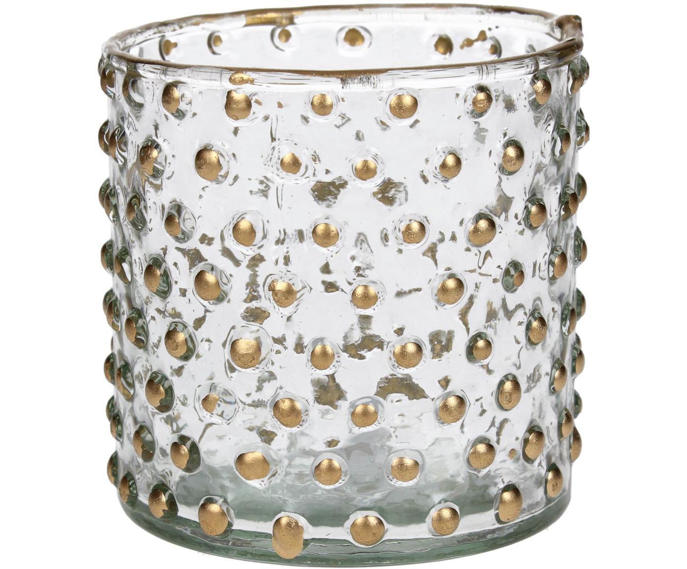 Teelichthalter Goldma, Glas, lackiert, Goldfarben, Ø 8 x H 8 cm