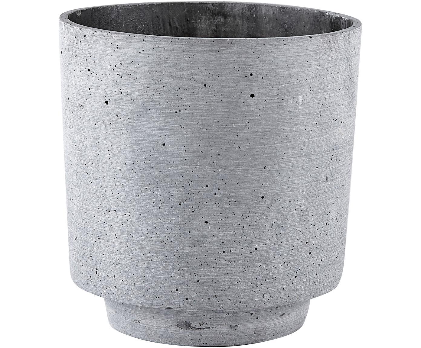 Übertopf Pola aus Kunstfaser, Kunstfaser, Grau, Ø 19 x H 19 cm