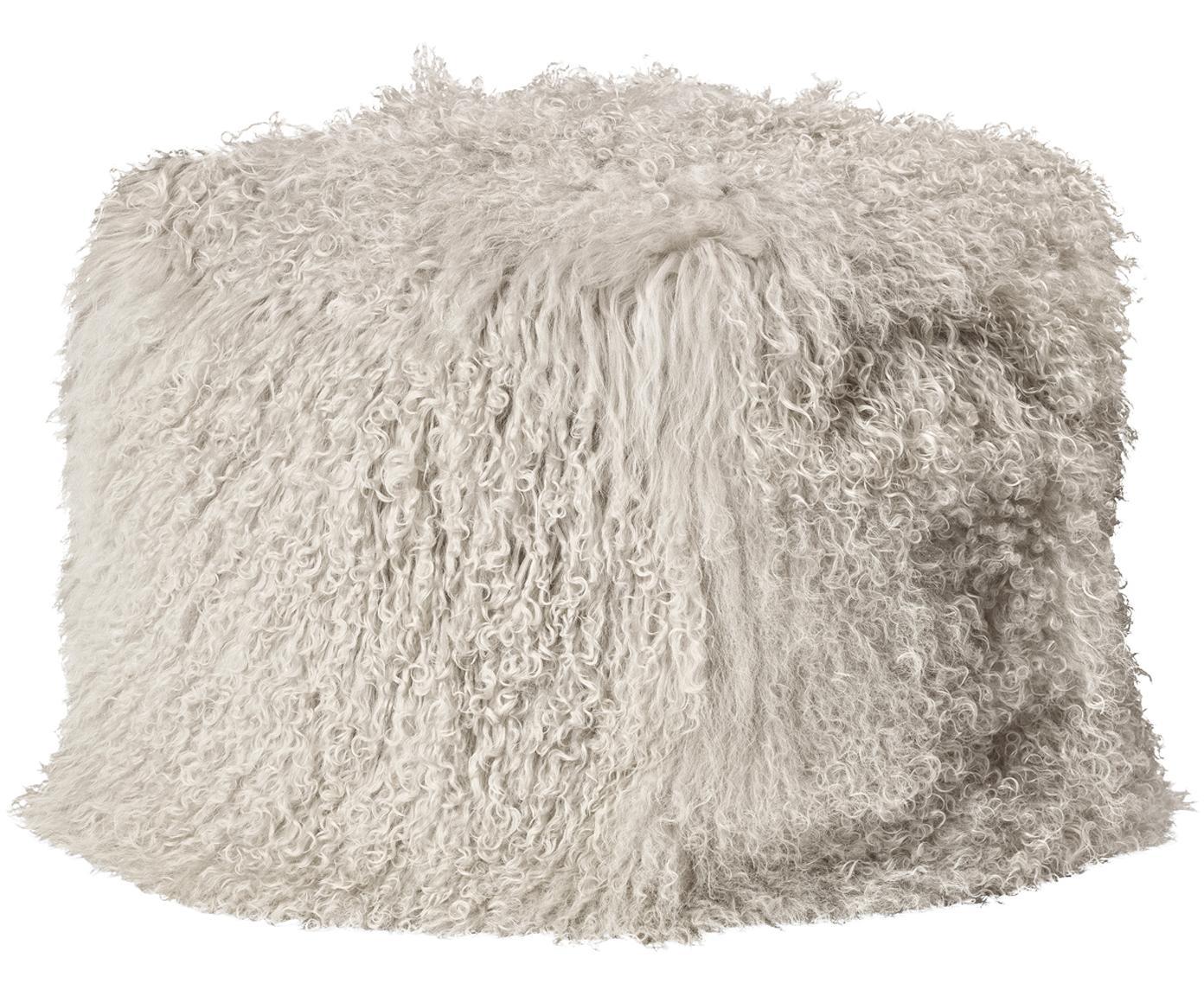 Puf de piel de cordero Cube, Tapizado: piel de cordero tibetano, Interior: poliéster (Charmeuse), Gris pardo, An 60 x Al 40 cm