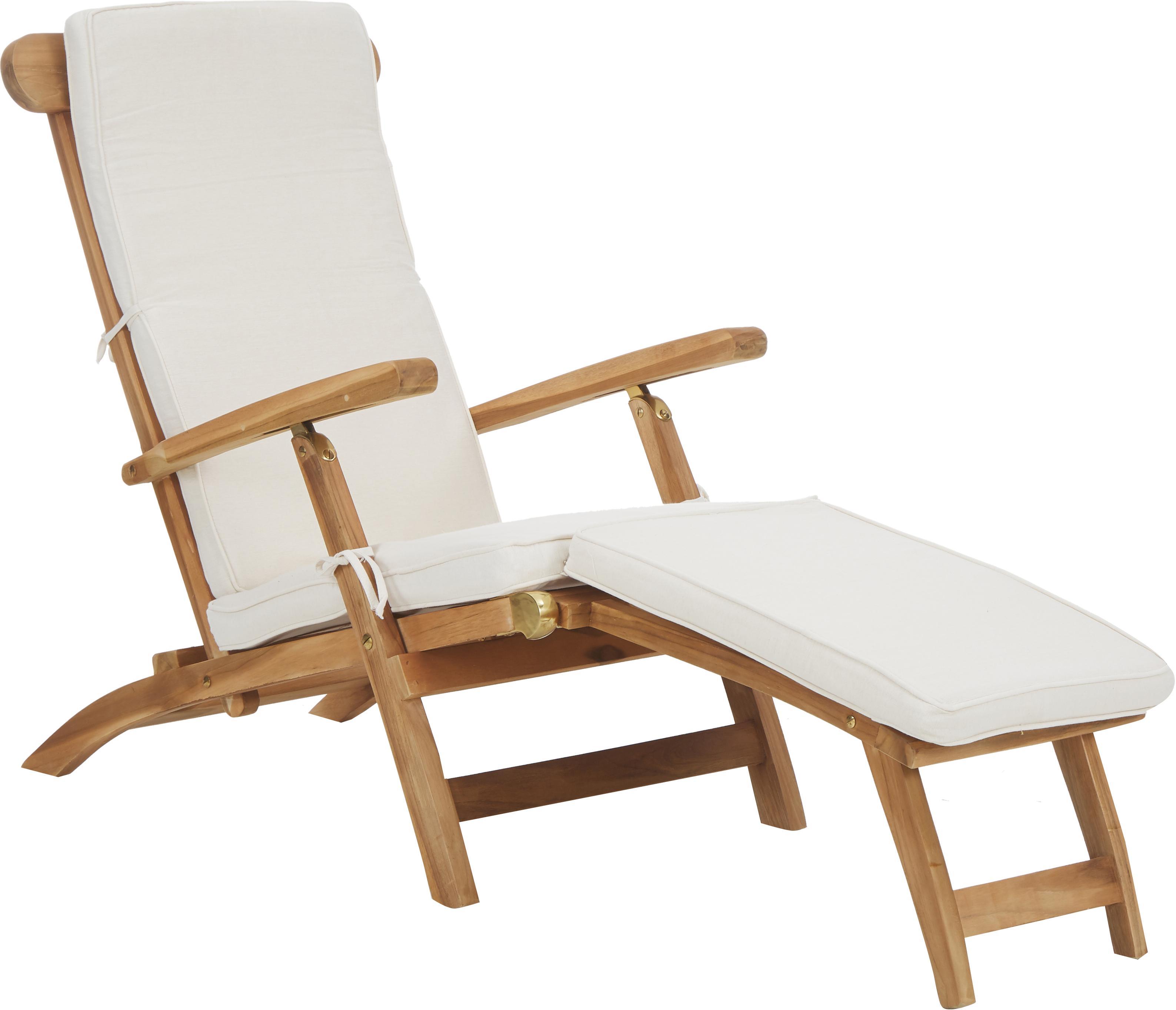 Tumbona de madera y algodón Arrecife, Tapizado: algodón, Teca, blanco crema, An 150 x Al 80 cm