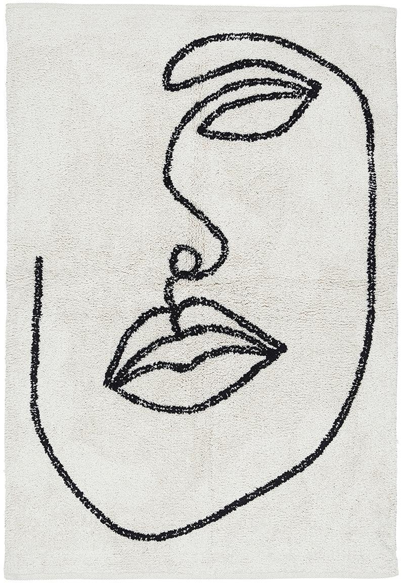 Katoenen vloerkleed Visage met abstracte one line tekening, 100% biokatoen, Gebroken wit, zwart, B 90 x L 120 cm (maat XS)