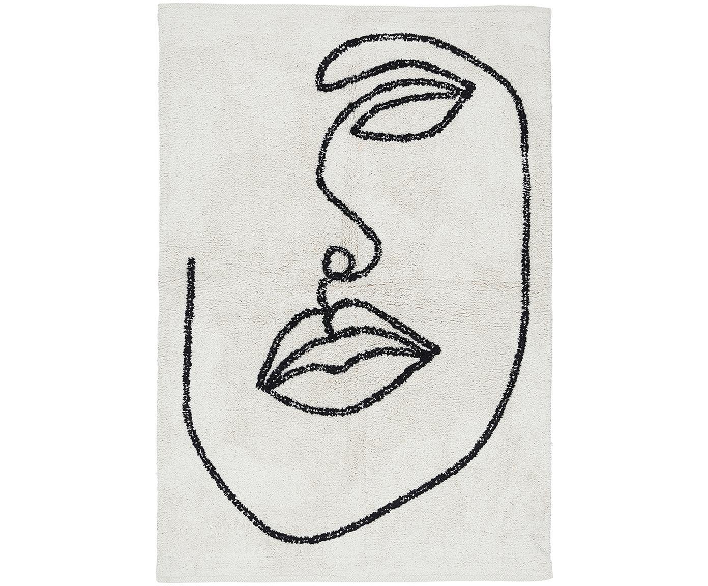 Katoenen vloerkleed Visage met abstracte one line tekening, Biokatoen, Gebroken wit, zwart, B 90 x L 120 cm (maat S)