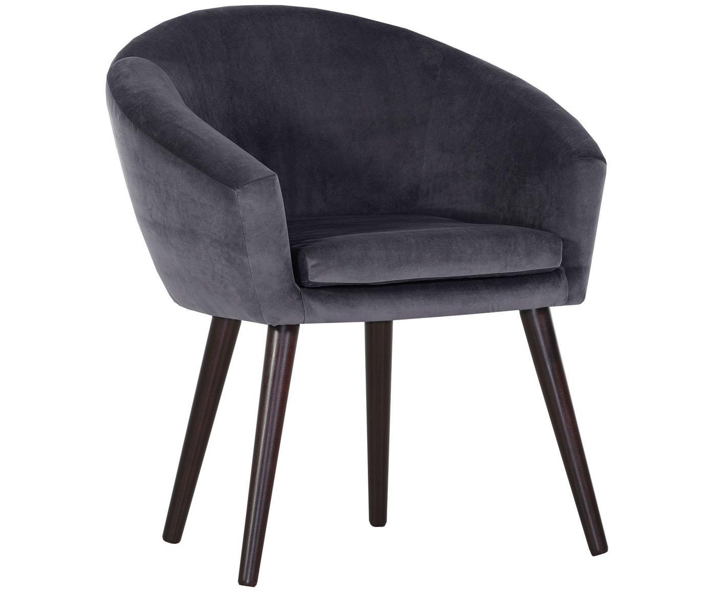 Krzesło z aksamitu z podłokietnikami Lino, Nogi: drewno lakierowane, Ciemnyszary, S 75 x G 66 cm
