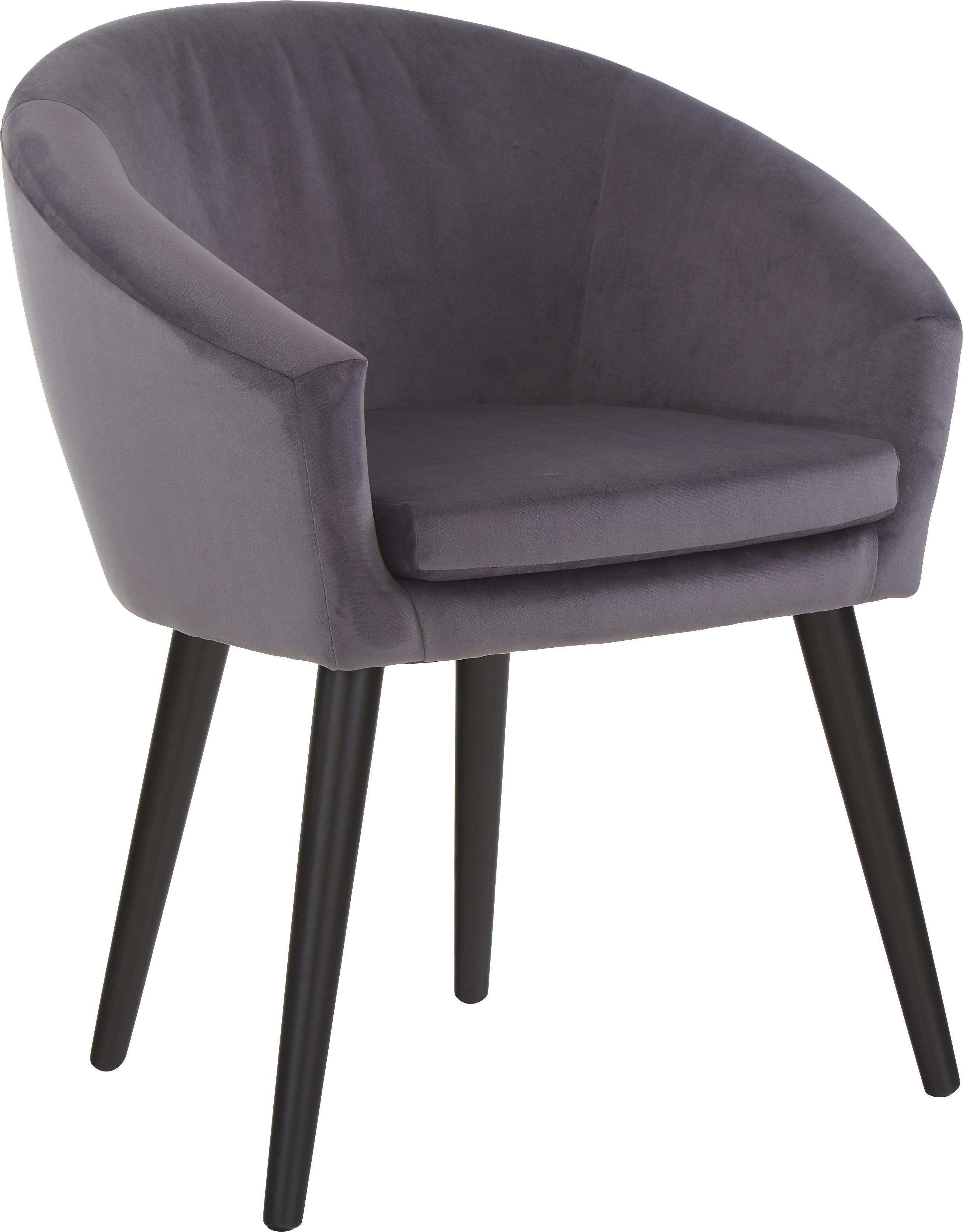 Sedia con braccioli in velluto grigio Lino, Rivestimento: poliestere (velluto), Piedini: legno verniciato, Velluto grigio scuro, Larg. 75 x Prof. 66 cm