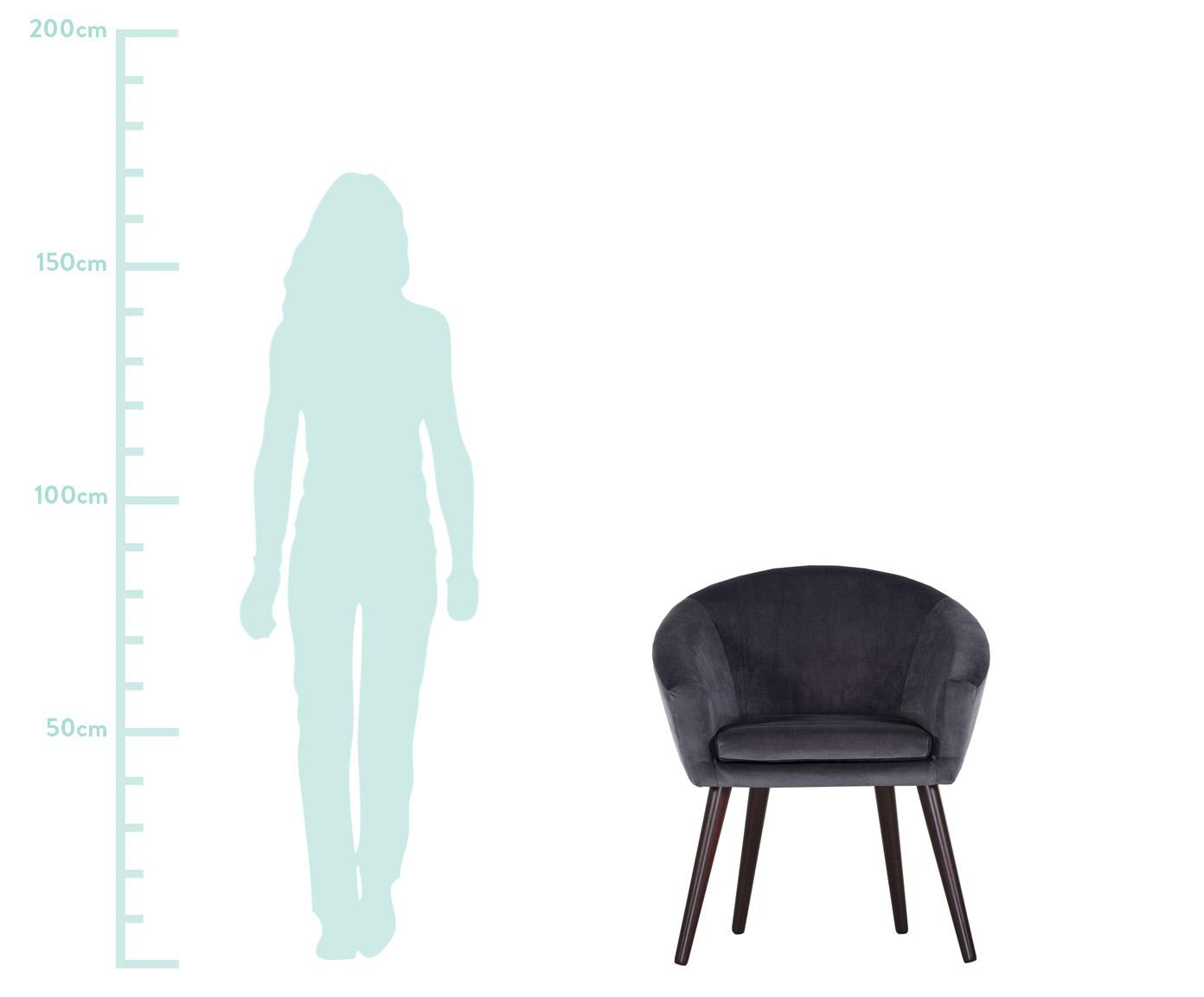 Samt-Armlehnstuhl Lino in Grau, Bezug: Polyester (Samt), Füße: Holz, lackiert, Samt Dunlegrau, B 75 x T 66 cm