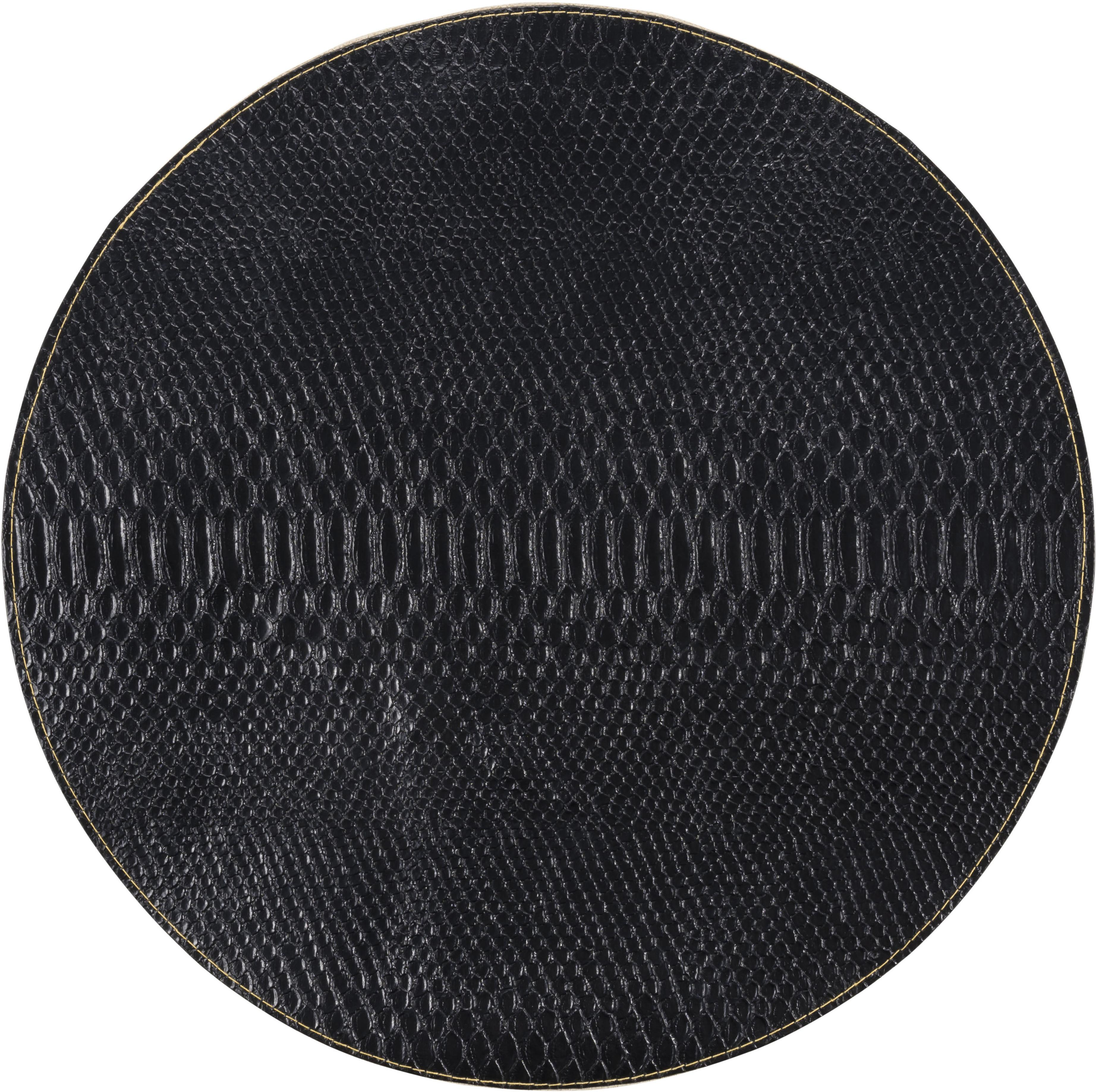 Manteles individuales redondos Allie, 2uds., Cuero sintético, Negro, dorado, Ø 38 cm