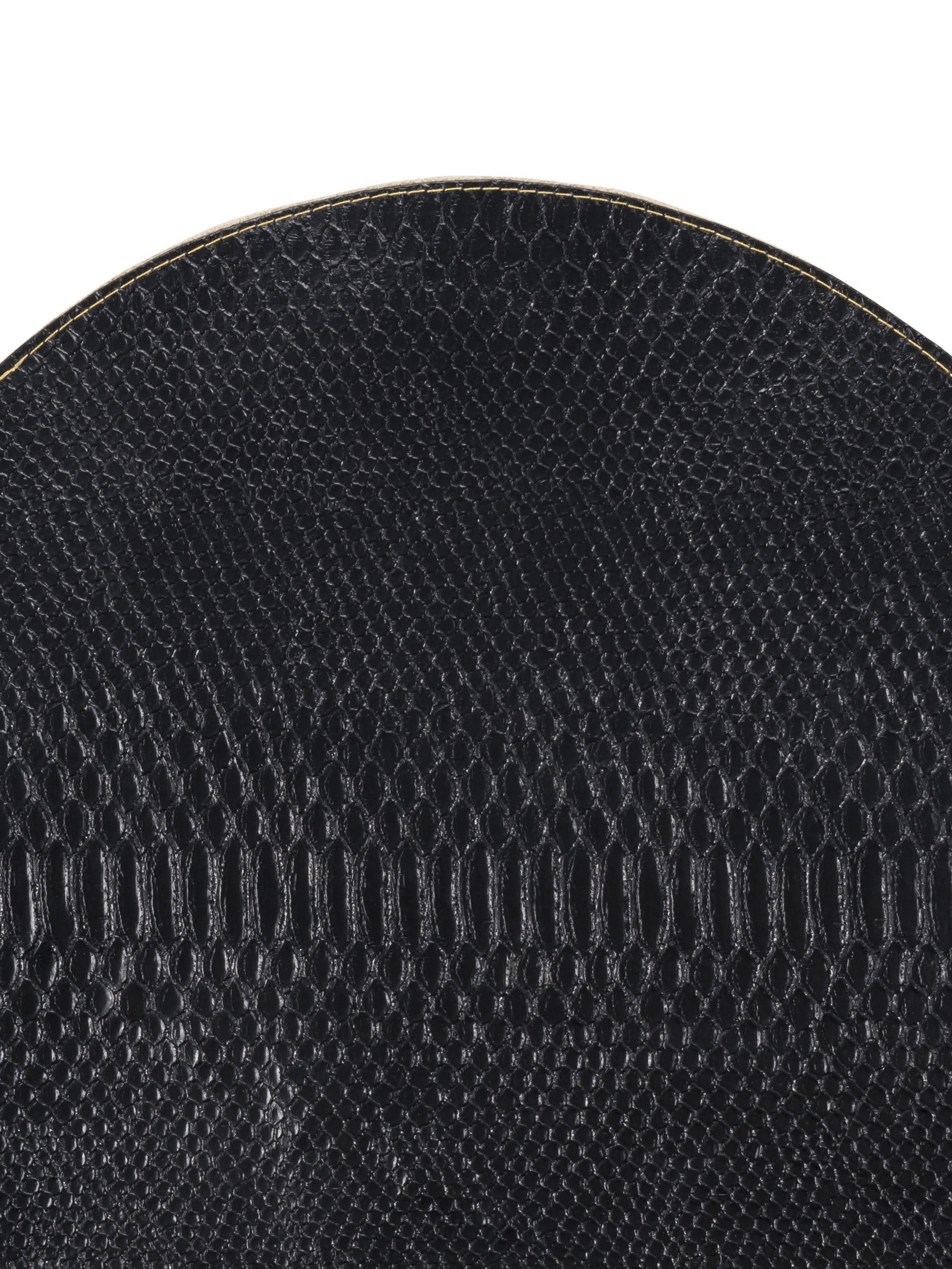 Runde Tischsets Allie, 2 Stück, Kunstleder, Schwarz, Goldfarben, Ø 38 cm