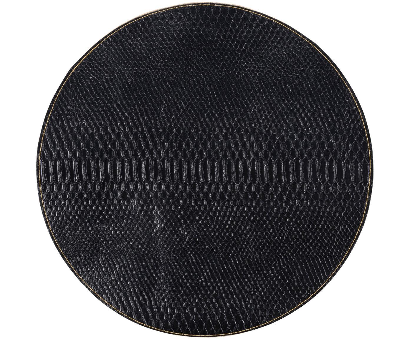 Ronde placemats Allie, 2 stuks, Kunstleer (imitatieleer), Zwart, goudkleurig, Ø 38 cm