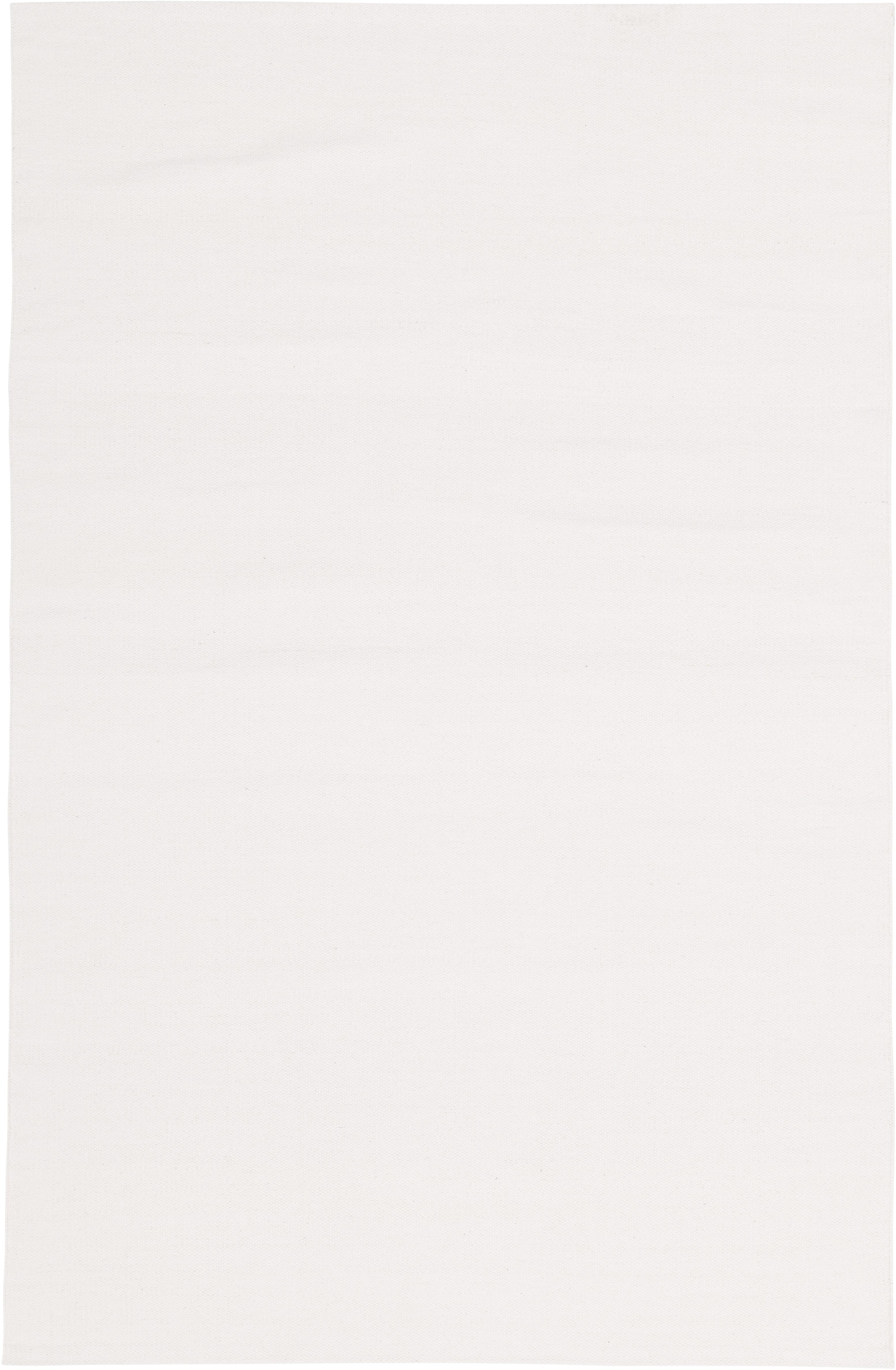 Dünner Baumwollteppich Agneta, handgewebt, 100% Baumwolle, Cremeweiss, B 120 x L 180 cm (Grösse S)