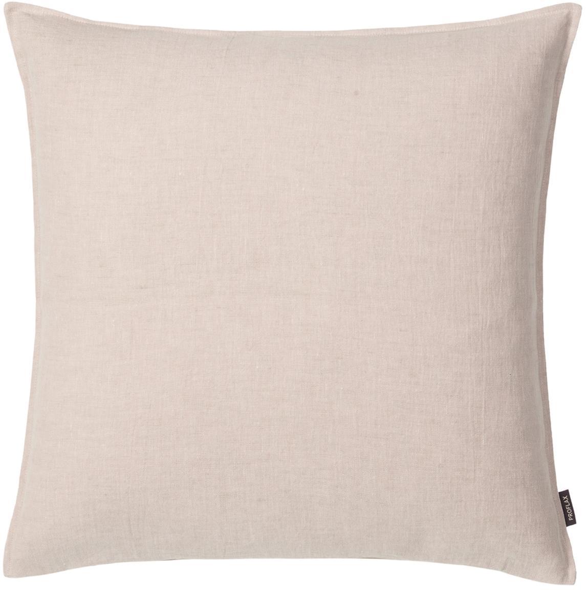 Federa arredo in lino lavato beige Sven, Lino, Beige, Larg. 40 x Lung. 40 cm