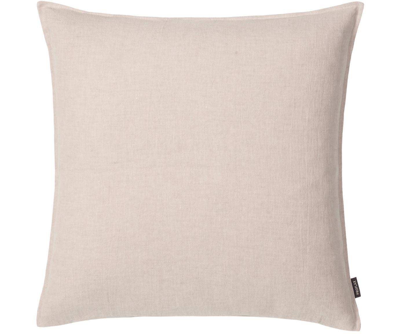 Poszewka na poduszkę z lnu z efektem sprania Sven, Len, Odcienie piaskowego, S 40 x D 40 cm