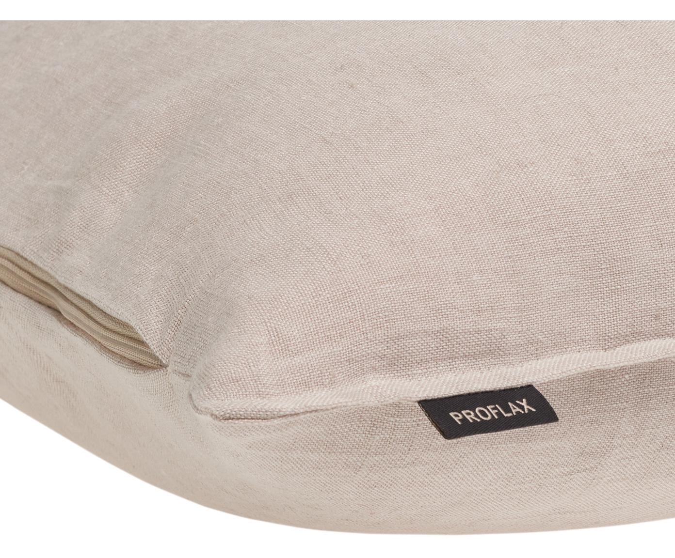 Poszewka na poduszkę z lnu z efektem sprania Sven, 100% len, Odcienie piaskowego, S 60 x D 60 cm