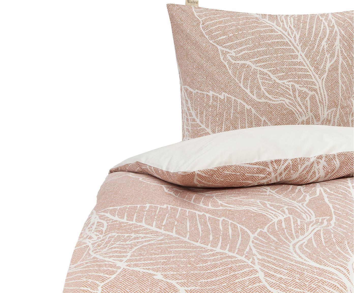 Pościel z bawełny Leaves & Trees, Brudny różowy, jasny beżowy, 135 x 200 cm