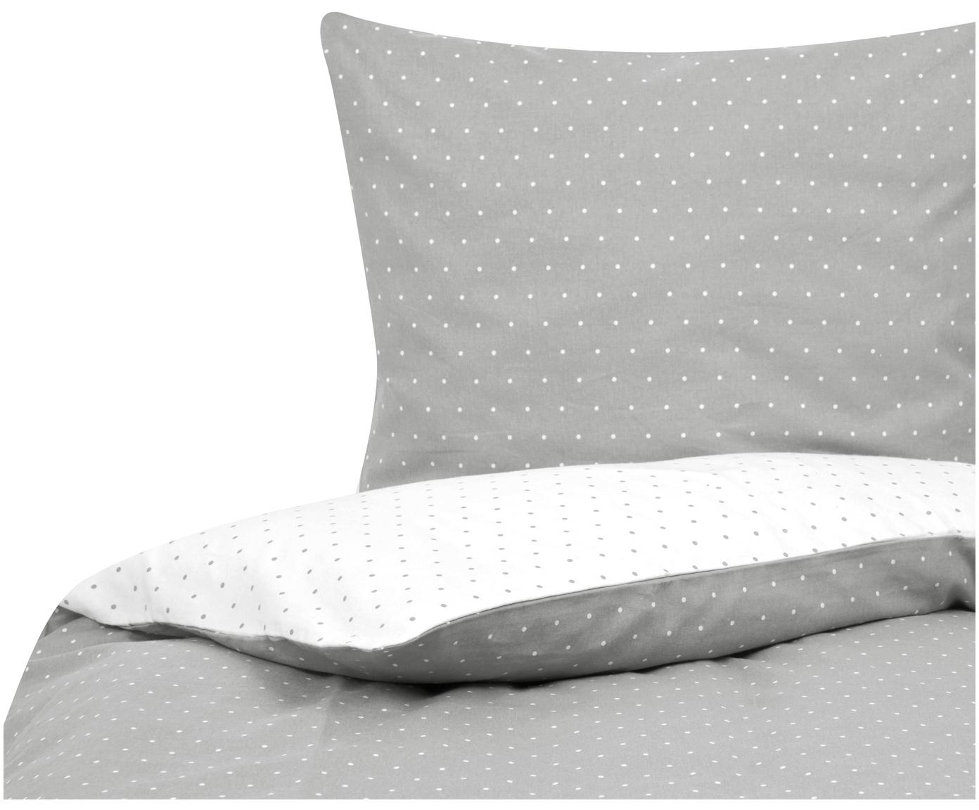 Flanell-Wendebettwäsche Betty, gepunktet, Webart: Flanell Flanell ist ein s, Grau, Weiss, 135 x 200 cm + 1 Kissen 80 x 80 cm