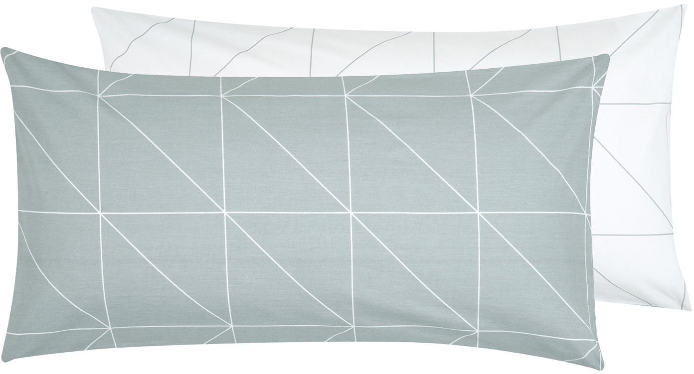 Baumwoll-Wendekissenbezüge Marla mit grafischem Muster, 2 Stück, Webart: Renforcé Fadendichte 144 , Grau, Weiss, 40 x 80 cm