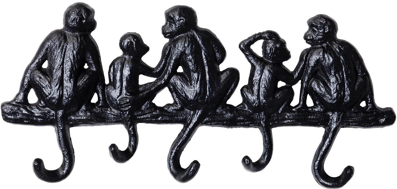 Perchero de pared pequeño Monkey, Metal con pintura en polvo, Negro, An 31 x Al 14 cm