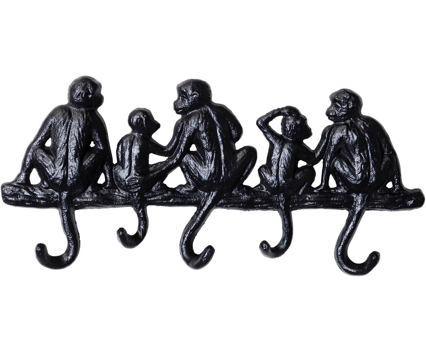 Mały wieszak ścienny Monkey, Metal malowany proszkowo, Czarny, S 31 x W 14 cm
