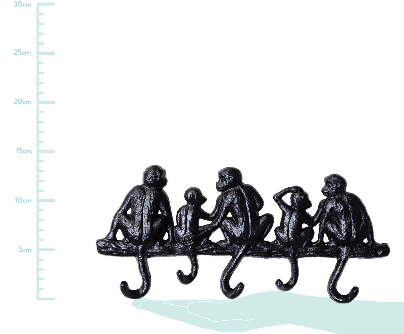 Kleine Wandgarderobe Monkey in Schwarz, Metall, pulverbeschichtet, Schwarz, 31 x 14 cm