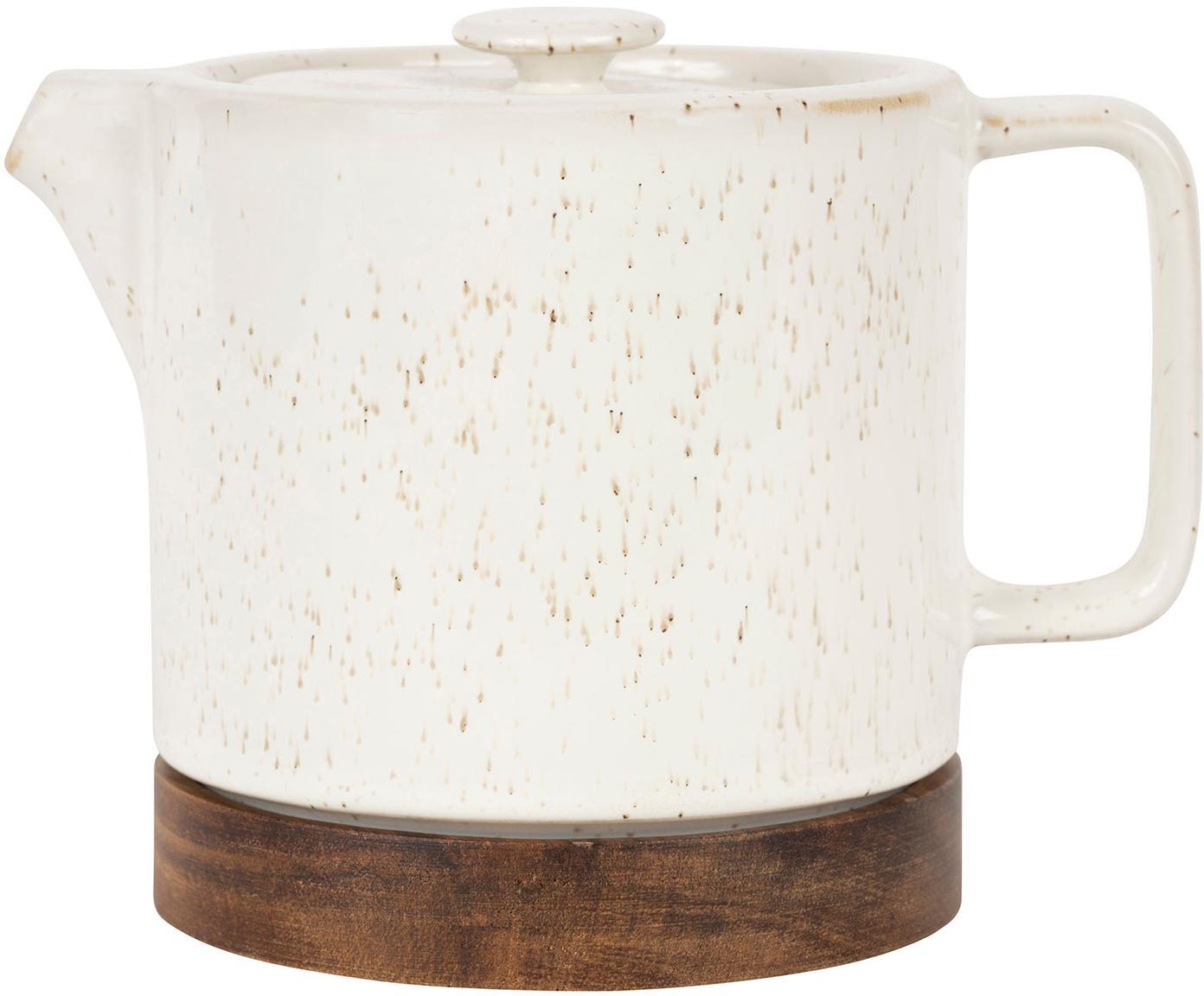 Steingut Teekanne Nordika mit Akazienholzsockel, Steingut, Akazienholz, Weiß, Braun, Ø 12 x H 12 cm