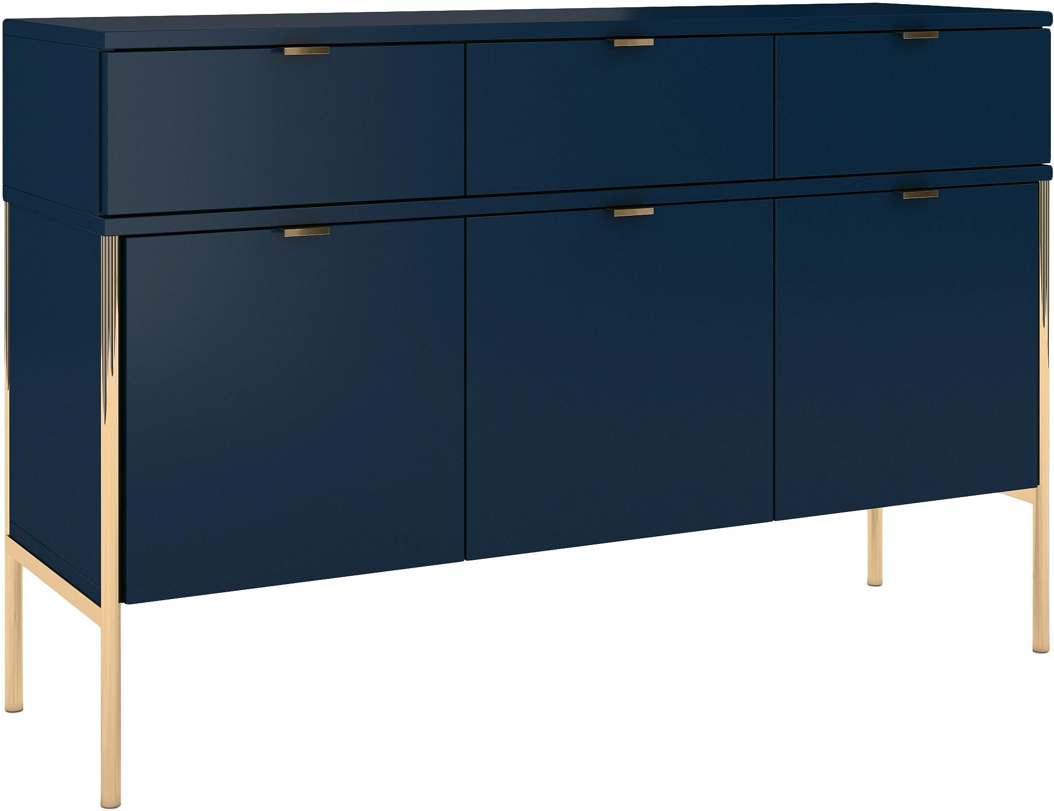 Aparador Polka, Estructura: tablero de fibra de alta , Azul oscuro, An 120 x Al 78 cm