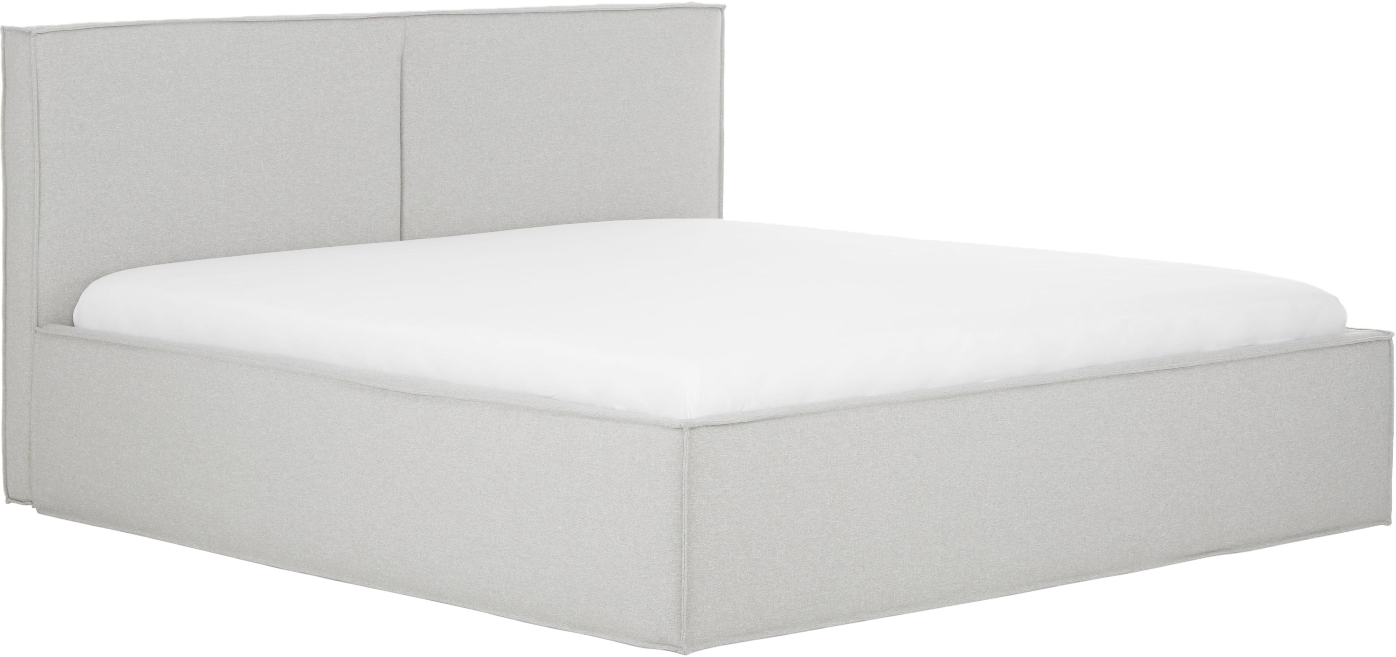 Gestoffeerd bed Dream, Frame: massief grenenhout, Bekleding: polyester (structuurmater, Lichtgrijs, 140 x 200 cm