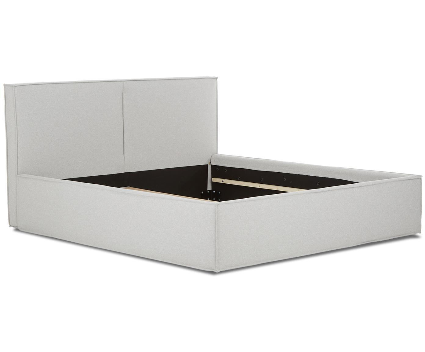 Łóżko tapicerowane Dream, Korpus: lite drewno sosnowe, Tapicerka: poliester (materiał tekst, Jasny szary, 180 x 200 cm