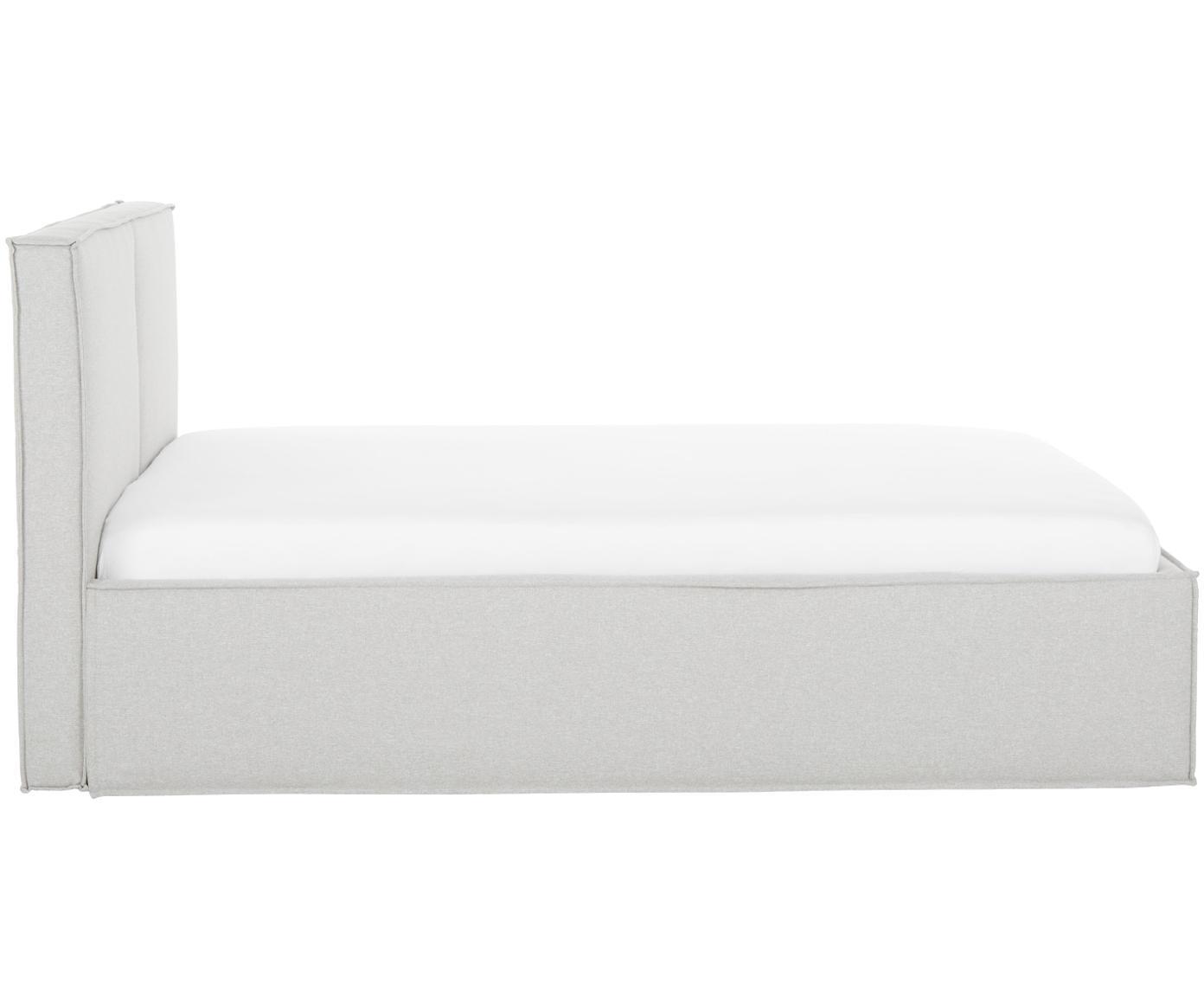 Gestoffeerd bed Dream, Frame: massief grenenhout, Bekleding: polyester (structuurmater, Lichtgrijs, 180 x 200 cm