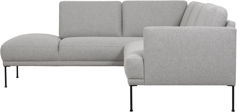 Hoekbank Fluente, Bekleding: 80% Polyester, 20% Ramie, Frame: massief grenenhout, Poten: gepoedercoat metaal, Lichtgrijs, B 221 x D 200 cm