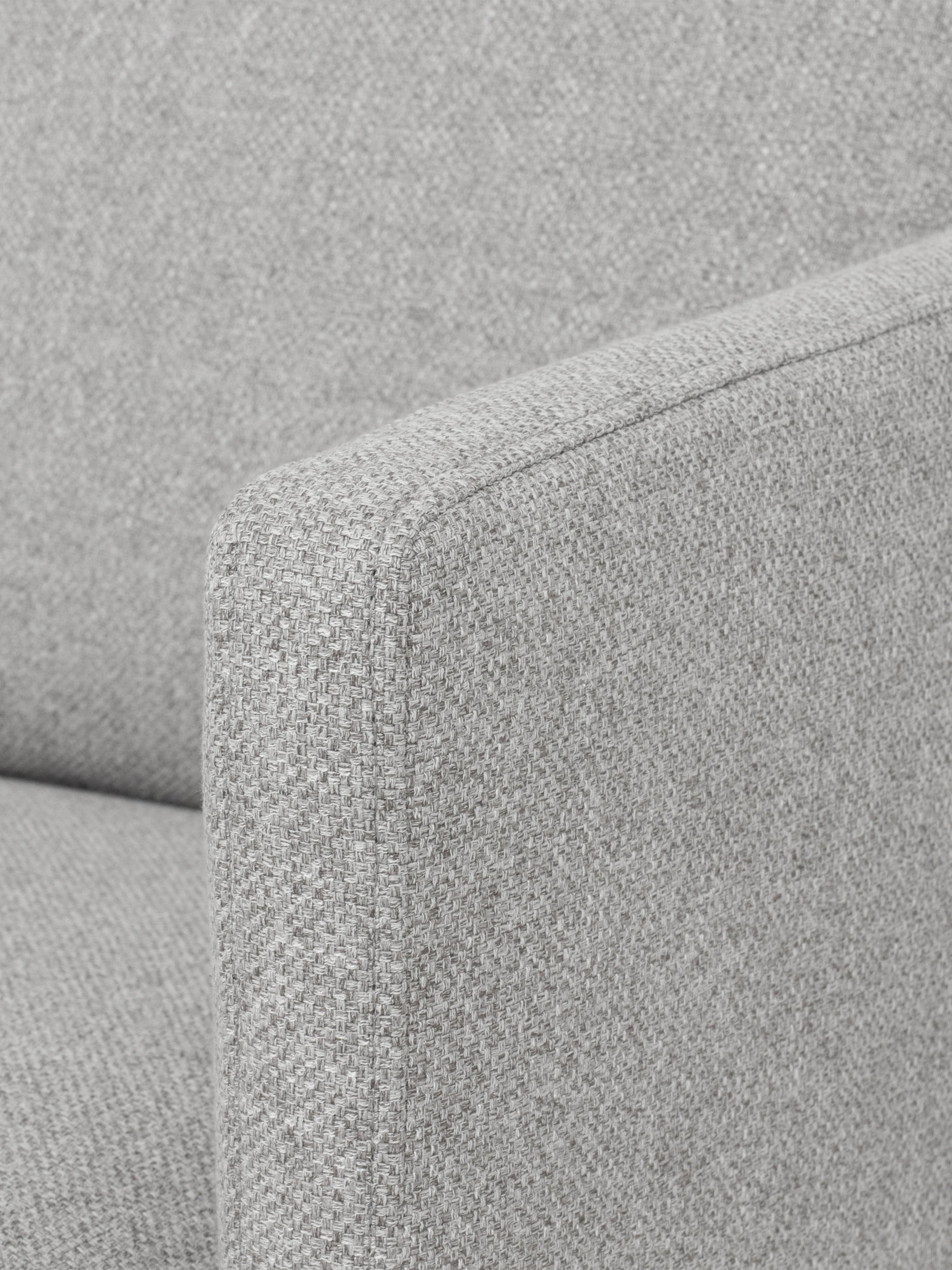 Canapé d'angle tissu gris clair Fluente, Tissu gris clair