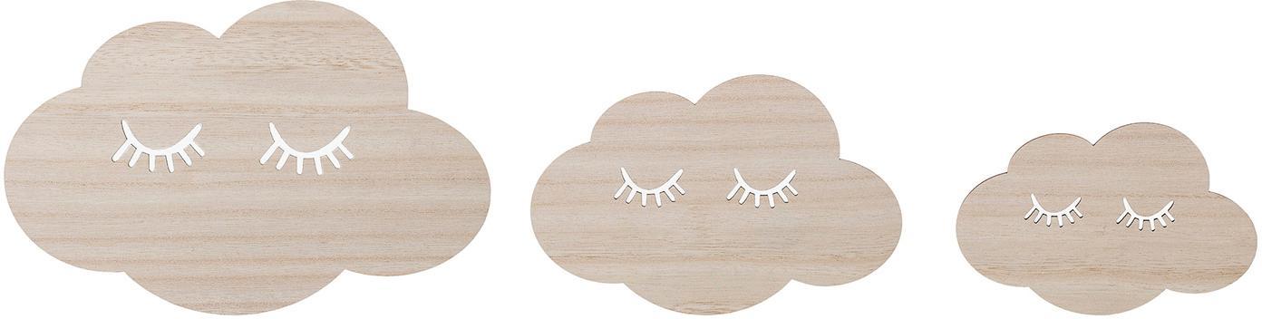 Wandobjekte-Set Clouds, 3-tlg., Sperrholz, Beige, Set mit verschiedenen Grössen