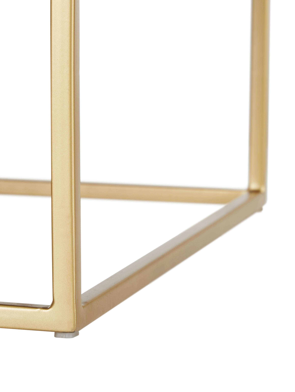 Comodino con piano in vetro Lyle, Struttura e maniglie: metallo verniciato a polv, Mensola: vetro, Legno di mango scuro, verniciato, Larg. 45 x Alt. 58 cm
