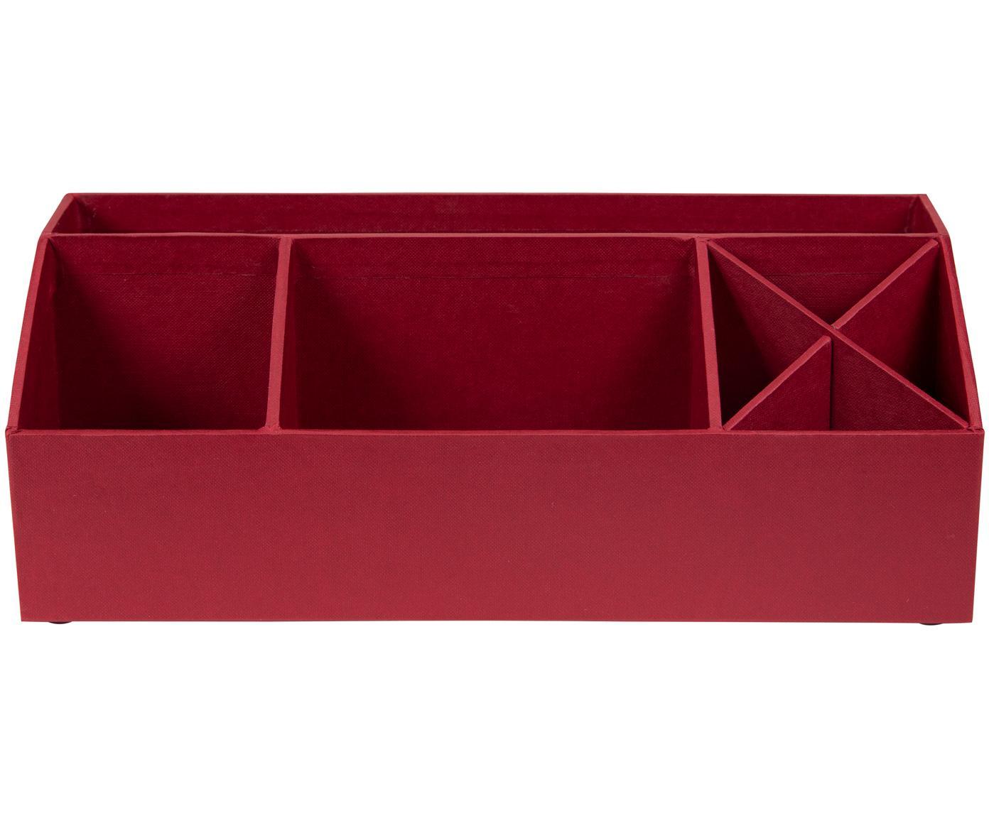 Organizer da ufficio Elisa, Solido, cartone laminato, Rosso scuro, L 33 x A 13 cm
