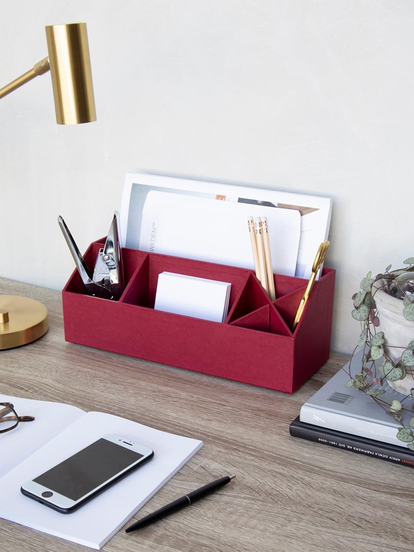 Büro-Organizer Elisa, Fester, laminierter Karton, Dunkelrot, 33 x 13 cm