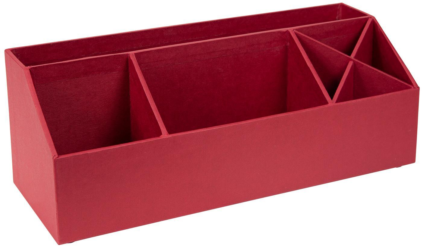Organizer da ufficio Elisa, Solido, cartone laminato, Rosso scuro, Larg. 33 x Alt. 13 cm