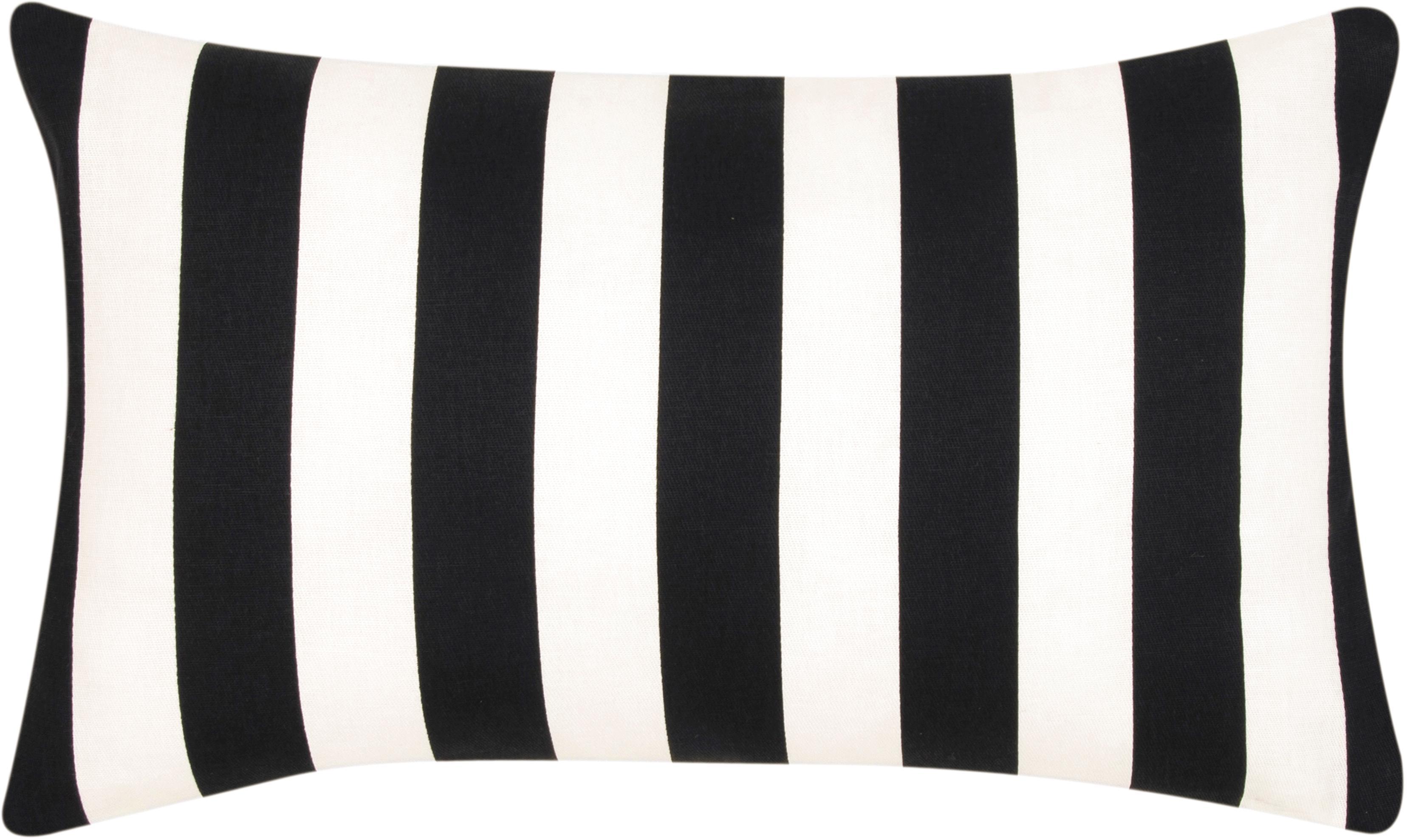Federa arredo a righe in nero/bianco Timon, Cotone, Nero, bianco, Larg. 30 x Lung. 50 cm