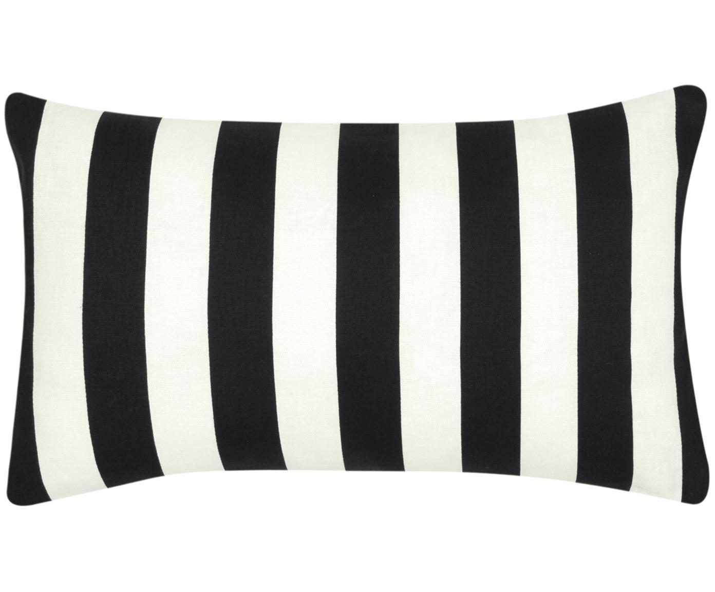 Kussenhoes Timon, 100% katoen, Zwart, wit, 30 x 50 cm