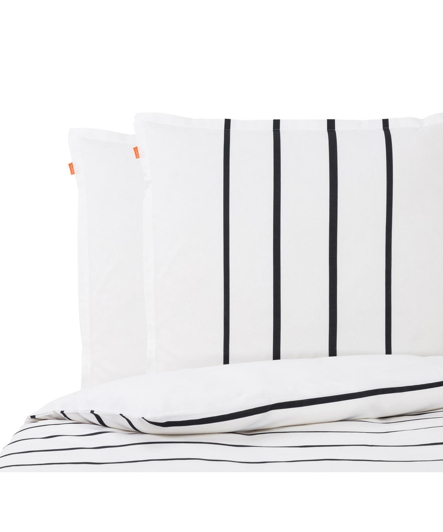 Parure copripiumino reversibile in cotone Blush, Cotone, Bianco, nero, rosa, 200 x 200 cm