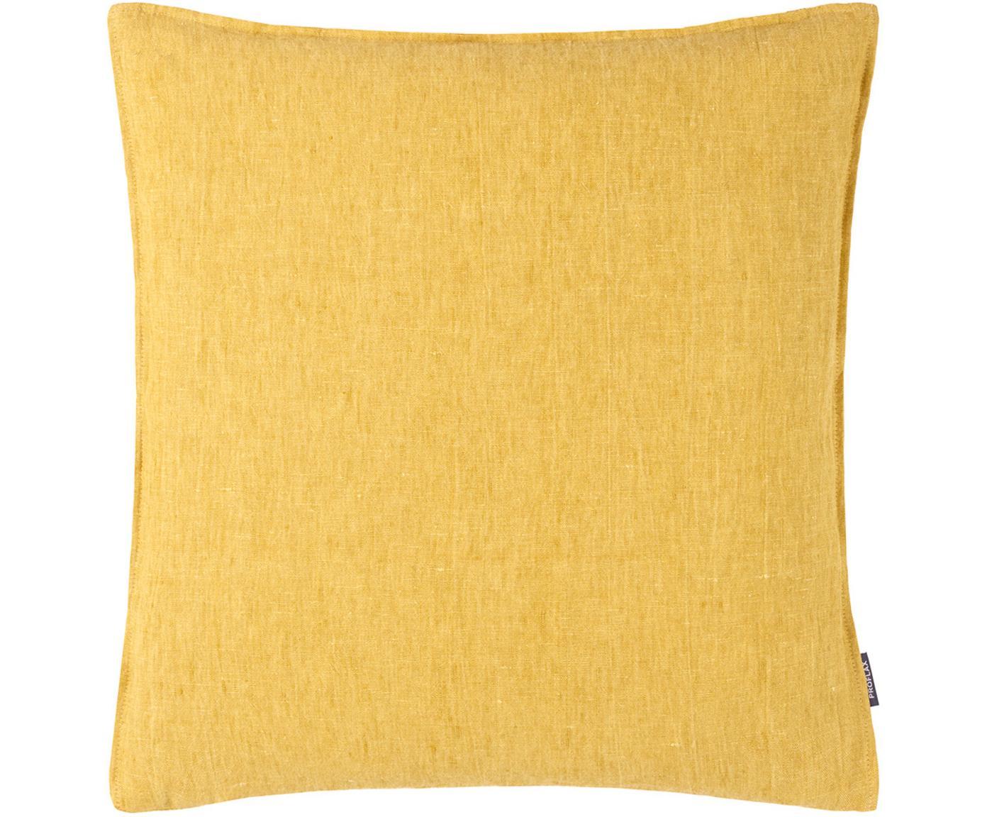 Federa arredo in lino lavato giallo ocra Sven, Lino, Giallo ocra, Larg. 60 x Lung. 60 cm
