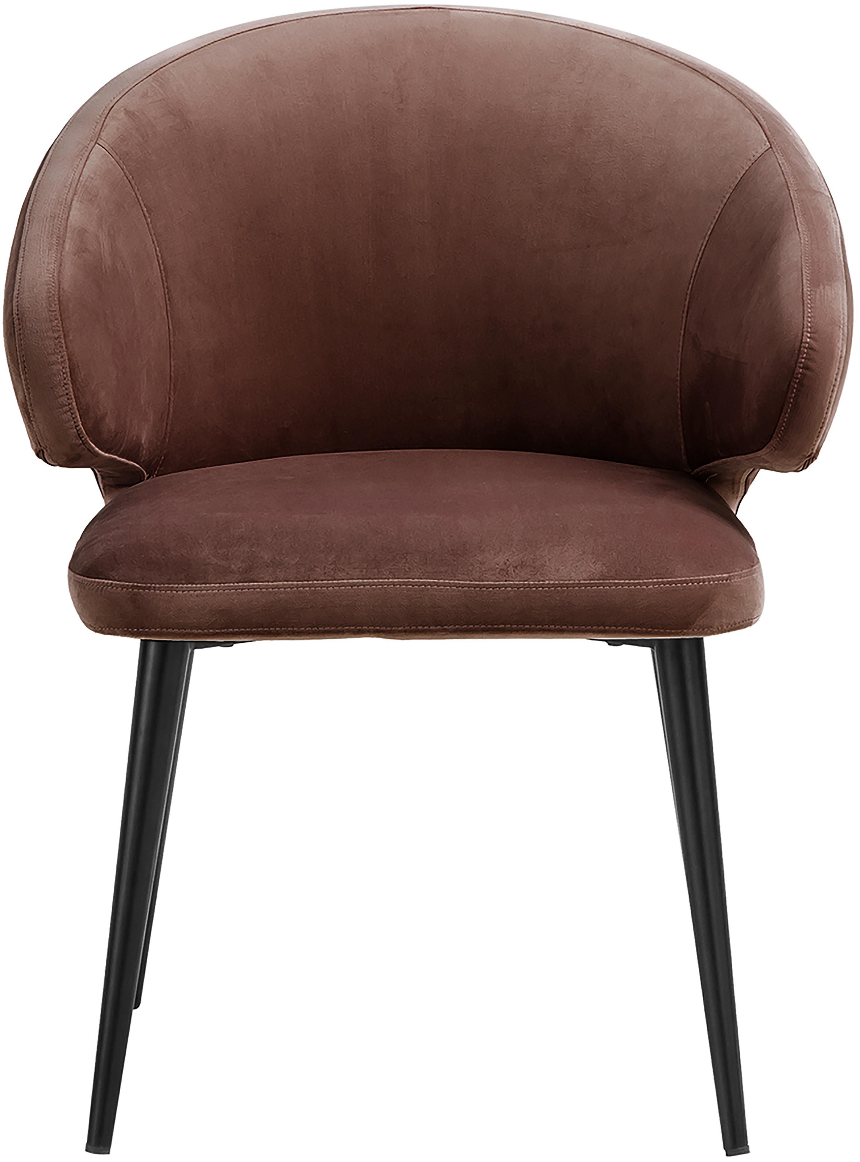 Samt-Armlehnstuhl Celia in modernem Design, Bezug: Samt (Polyester) 30.000 S, Beine: Metall, pulverbeschichtet, Braun, B 57 x T 62 cm