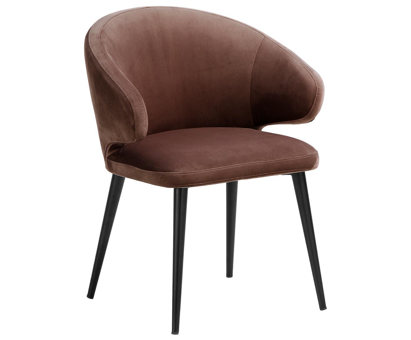 Krzesło z podłokietnikami z aksamitu Celia, Tapicerka: aksamit (poliester) 3000, Nogi: metal malowany proszkowo, Brązowy, S 57 x G 62 cm