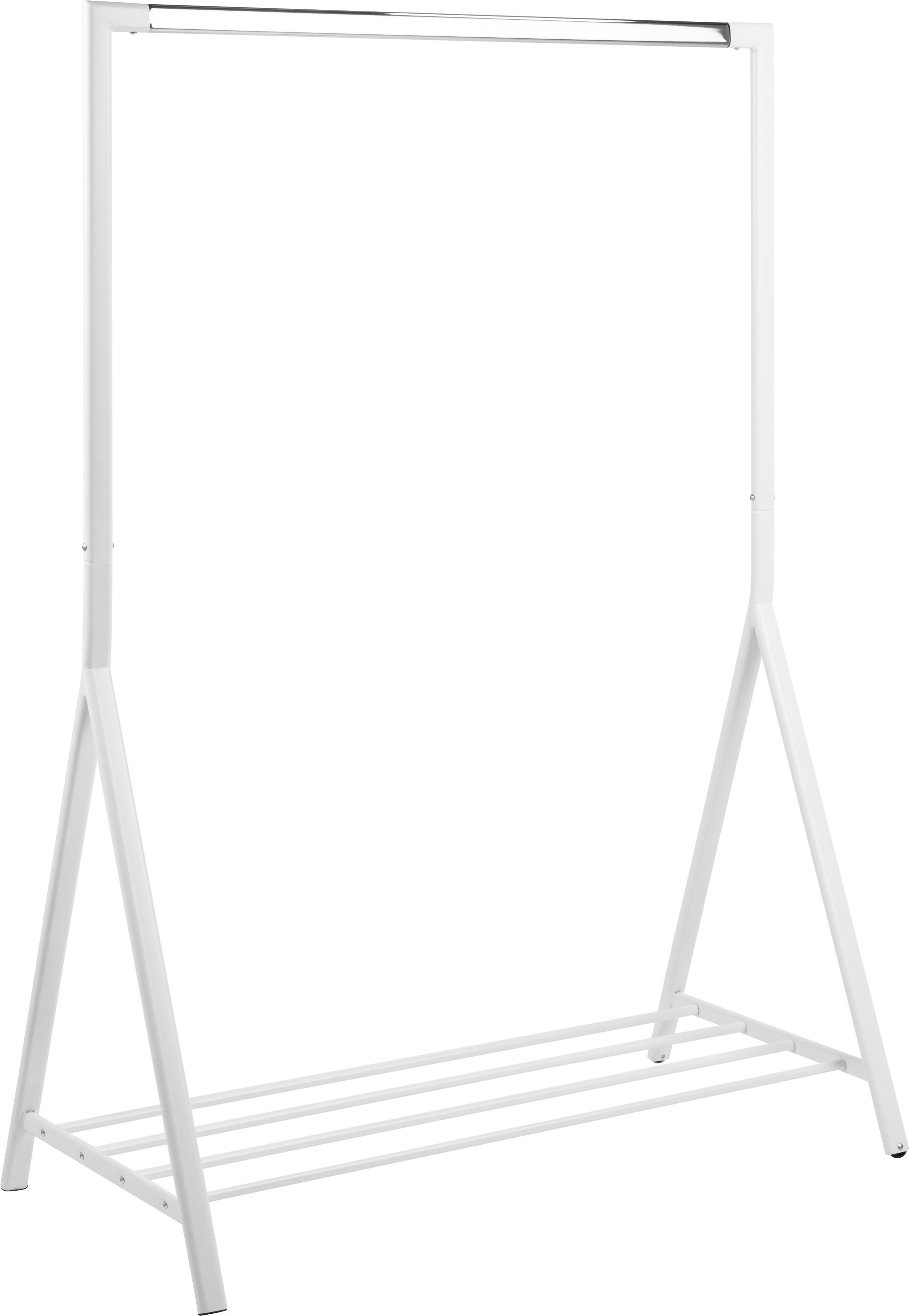 Appendiabiti con mensola Brent, Metallo rivestito, Bianco, Larg. 117 x Prof. 59 cm