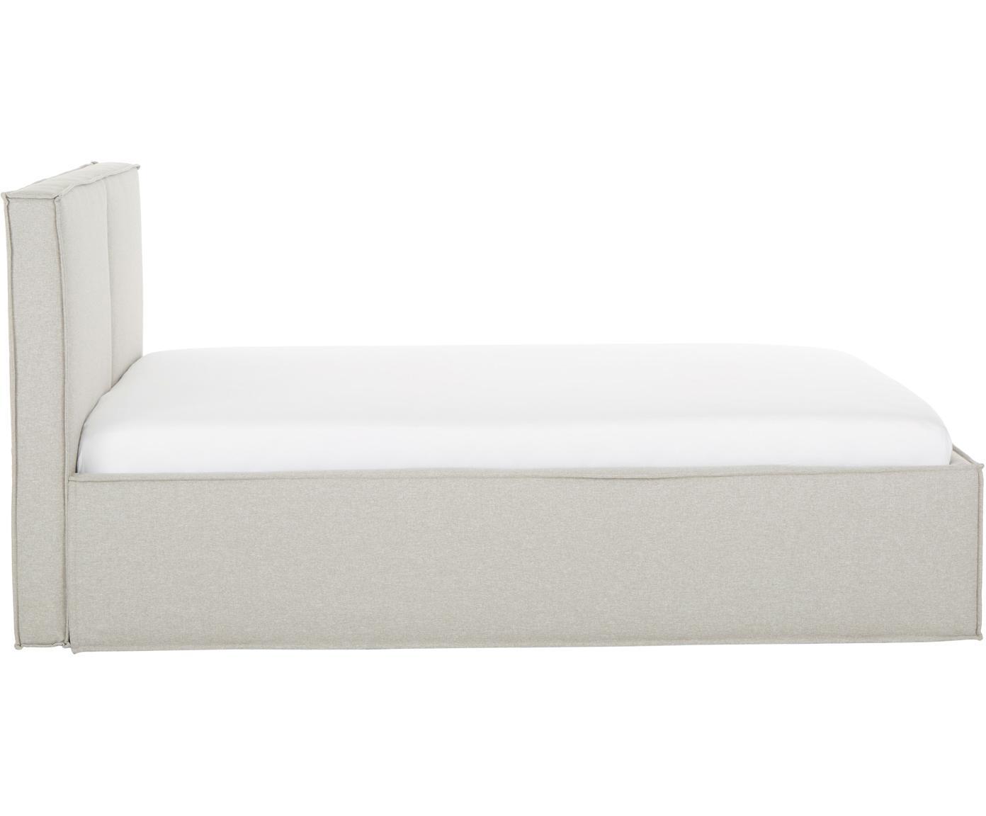 Polsterbett Dream, Korpus: Massives Kiefernholz, Bezug: Polyester (Strukturstoff), Webstoff Beige, 180 x 200 cm