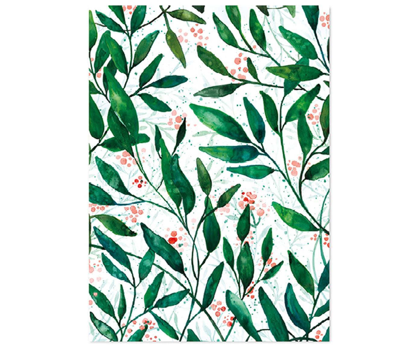 Rotolo di carta da imballaggio Green Leaves 3 pz, Carta, Verde, rosso, bianco, Larg. 50 x Alt. 70 cm